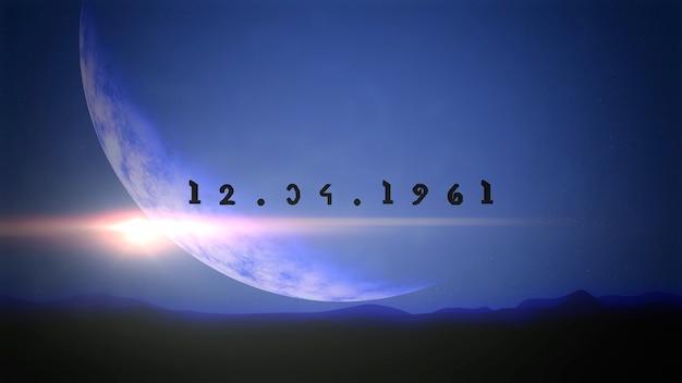 銀河、抽象的な未来的な背景の惑星と星のクローズアップ12.04.1961テキスト。コスモスとsfをテーマにしたエレガントで豪華な3dイラストスタイル
