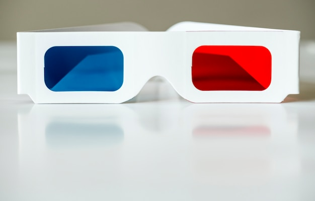 Closeup of 3d glasses movies and entertainment concept