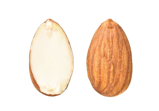 Closeup of almond nut with half slices isolated on white
