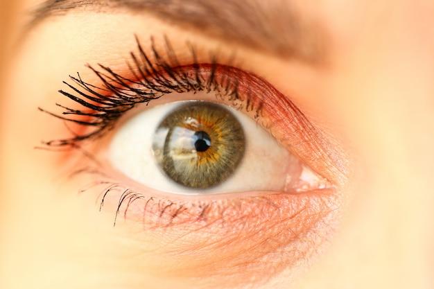 Closeup of amazing female green coloured right eye