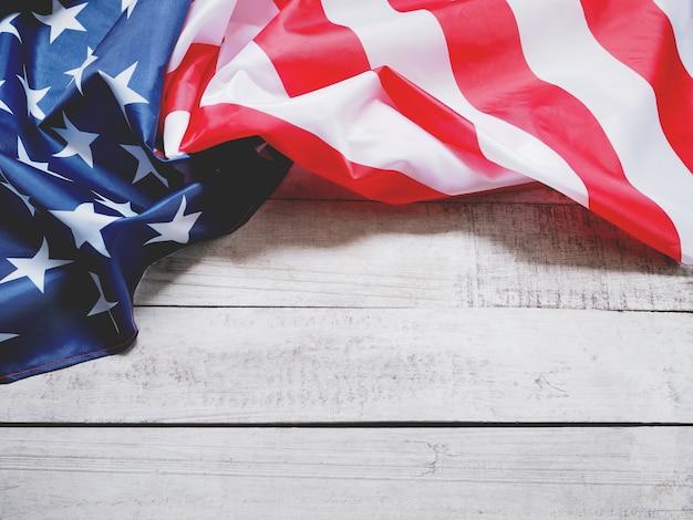 Closeup of american flag on vintage wood
