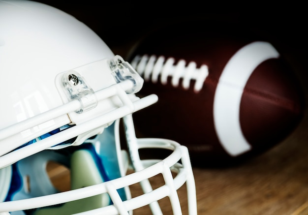 Closeup of american football helmet