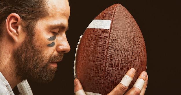 Closeup of american football player