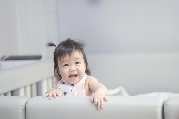 Closeup asian baby girl with smile face