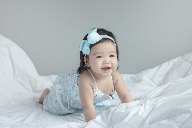 Closeup asian baby girl with smile face Premium Photo