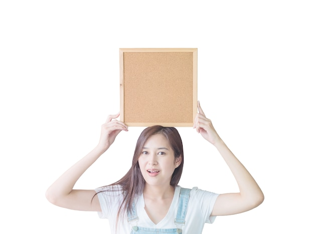 Closeup asian woman with cork board isolated on white