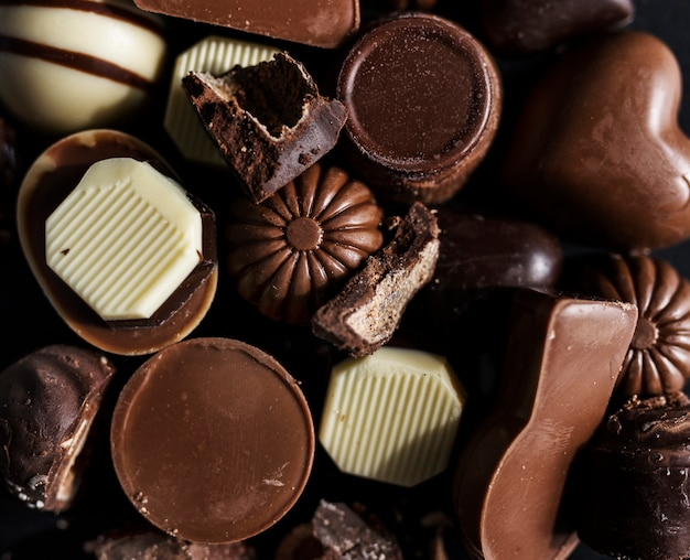 Closeup of assorted chocolates