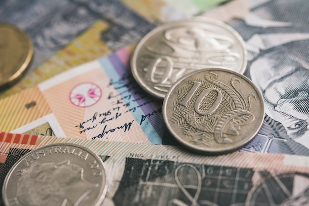 Closeup of australian dollar currency money banknotes and coins