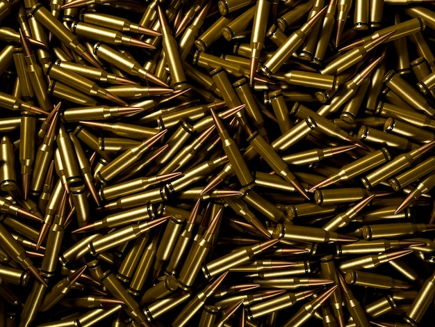 Closeup background of pile of polished rifle bullets