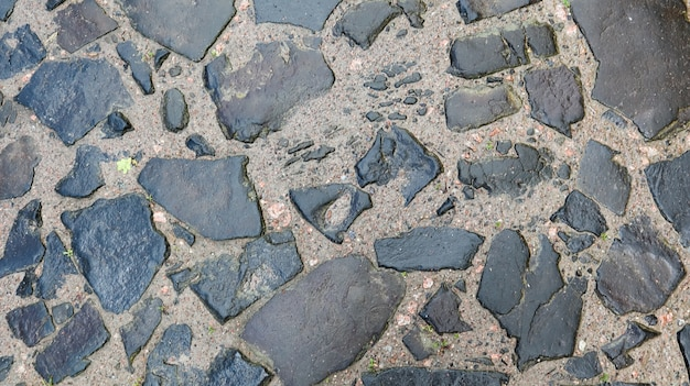 Closeup background texture of old wet pavement. an old cobblestone road for your background. copy space. flat lay.