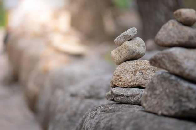 Closeup of balancing rock stack pyramid for mediation and harmony