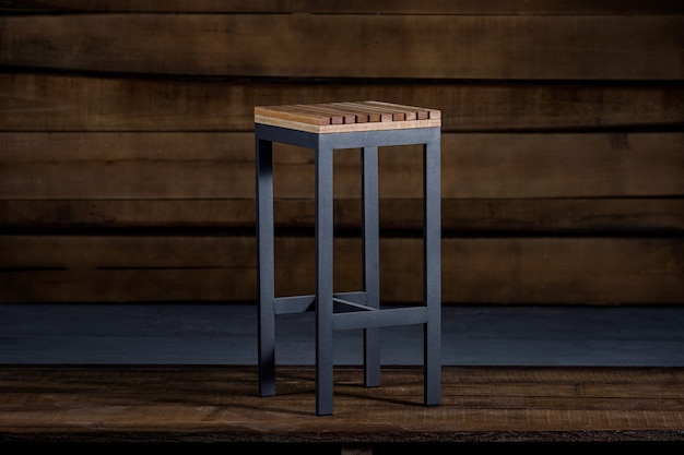 Closeup of a bar stool in loft style