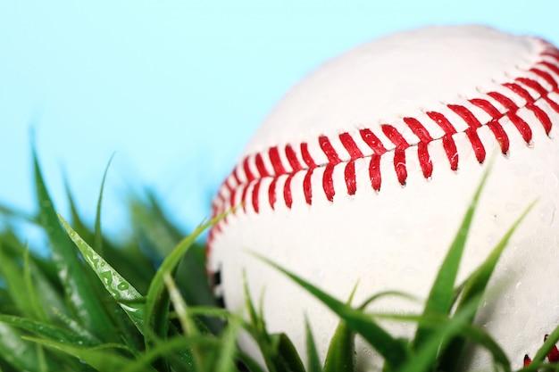 Крупным планом бейсбол в траве