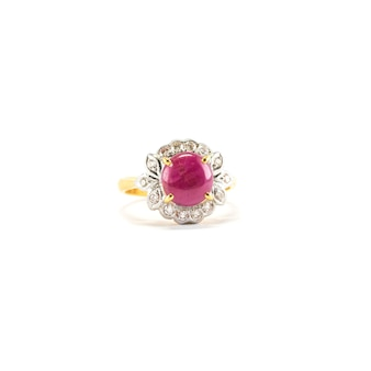 Closeup beautiful pink pebble ring isolated