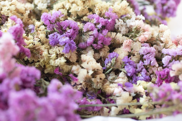 Closeup beautiful vintage bouquet of dried flowers