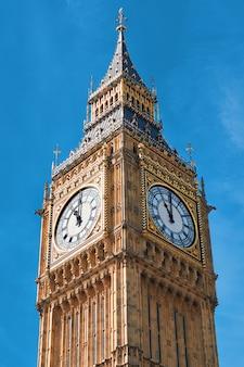 Closeup on big ben clock tower in london, uk