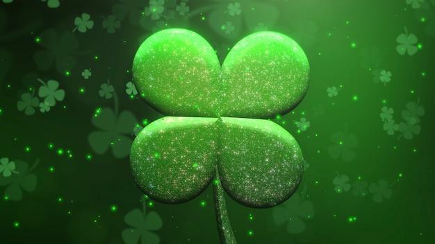 Трилистники крупного плана большие зеленые и блестки мухи малые на фоне дня святого патрика блестящей. роскошный и элегантный стиль 3d-иллюстрации для праздничной темы