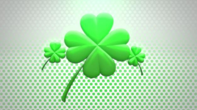 Трилистники крупного плана большие зеленые на предпосылке дня святого патрика. роскошный и элегантный стиль 3d-иллюстрации для праздничной темы