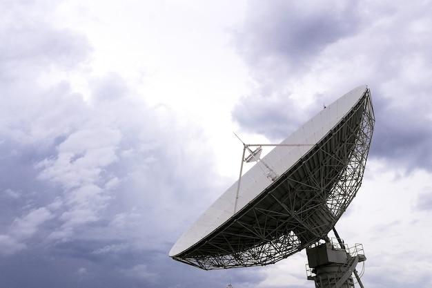 Closeup big satellite dish technology against sky