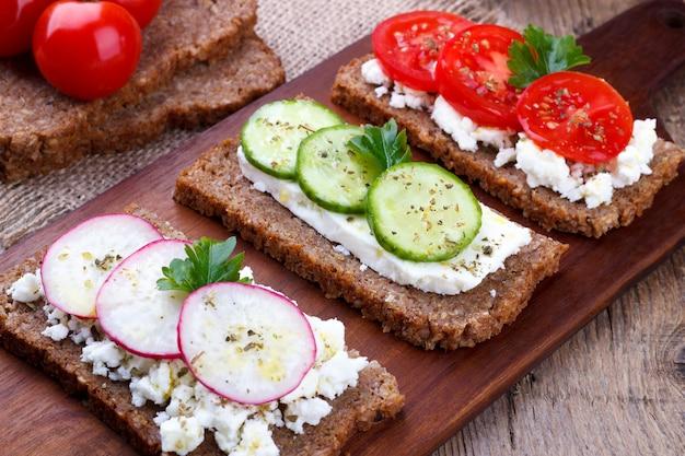 Closeup of black bread sandwiches