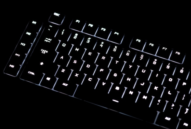 Closeup of a black computer keyboard