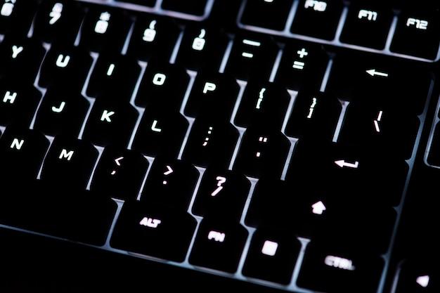 Closeup of a black computer keyboard