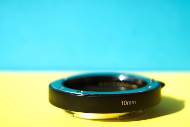 Closeup the black extender lens 10 mm