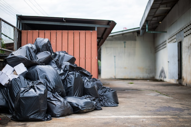 Closeup black garbage bag