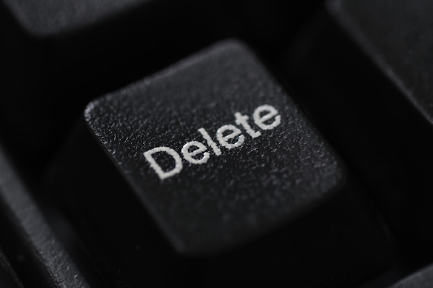 Closeup of a black keyboard delete button