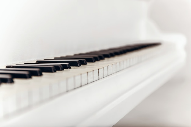 Closeup of black and white piano keys. type of diagonal