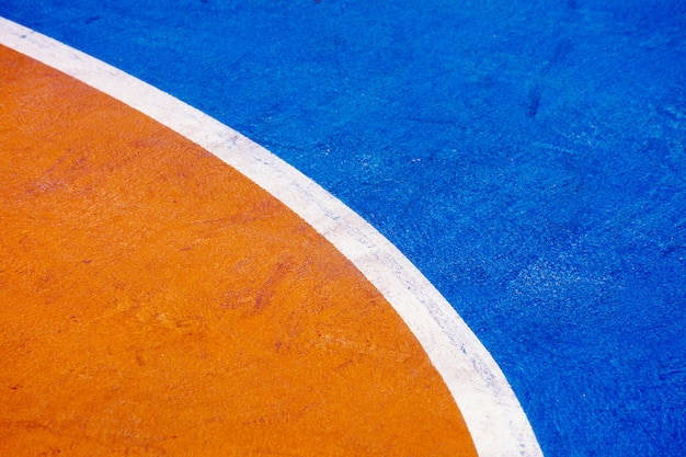 Closeup blue basketball court