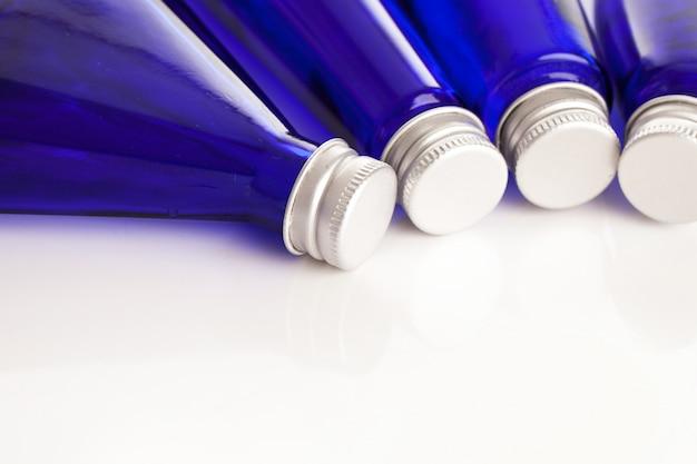 Closeup of blue bottles