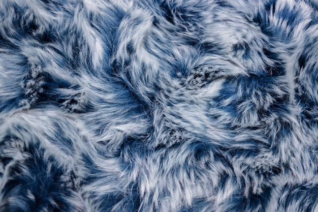 Closeup of blue fur texture. smooth fluffy and softness background