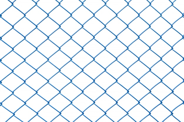 Closeup blue metal net at fence isolated on white background