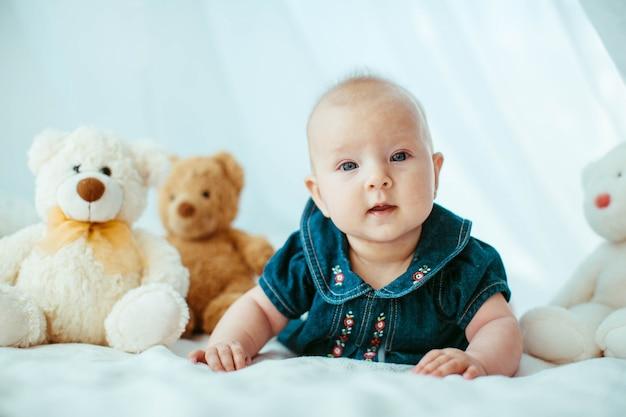 Closeup body infant small studio