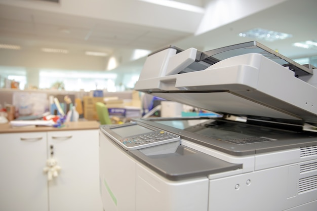 Closeup bottom panel of the photocopier or xerox printer machine
