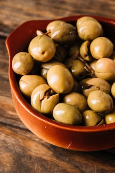Closeup bowl of olives