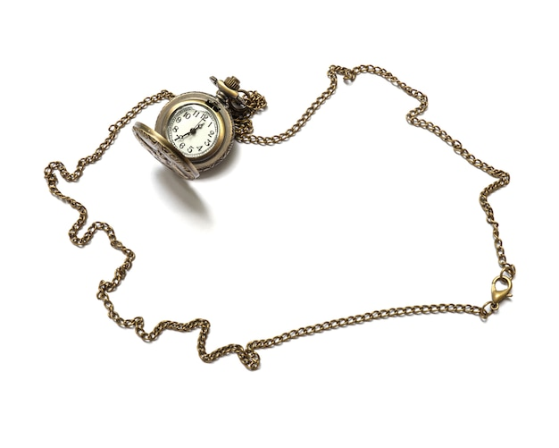 Closeup brass watch necklace isolated on white