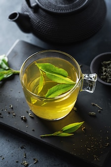 Closeup of brewed green tea in cup served on plate on table.