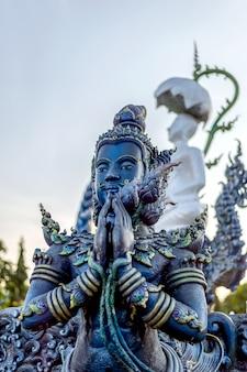 Closeup buddha statue in rong sua ten temple (blue temple)