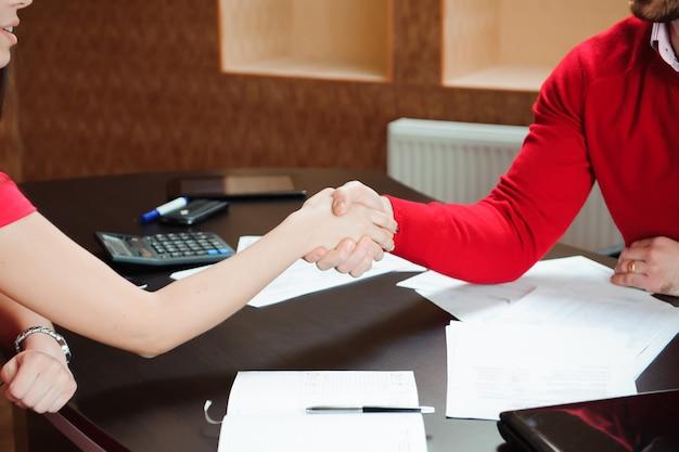 Closeup of a business handshake. business concept.