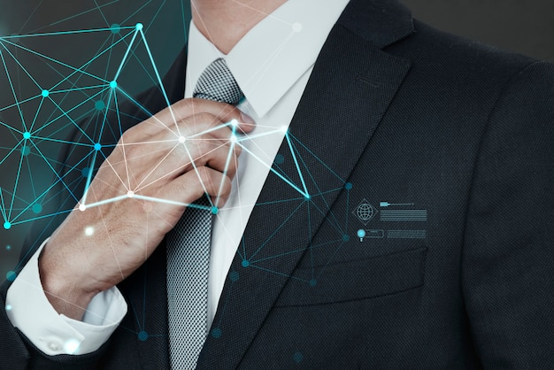Closeup of a businessman in a black suit