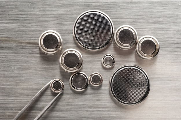 Closeup button cell battery or watch battery or coin cell.