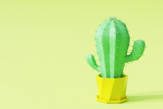 Closeup cactus in flowerpot with light green background