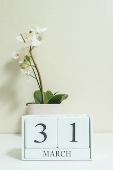 Closeup calendar with 31 march word on desk