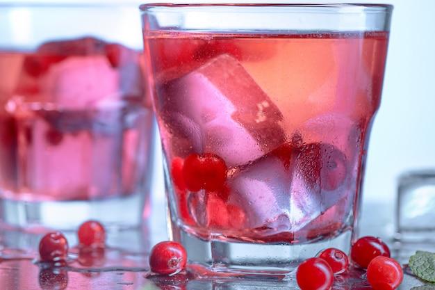 Closeup of a cape cod cocktail or vodka cranberry