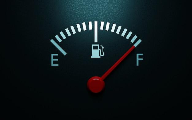 A closeup of a car fuel gauge