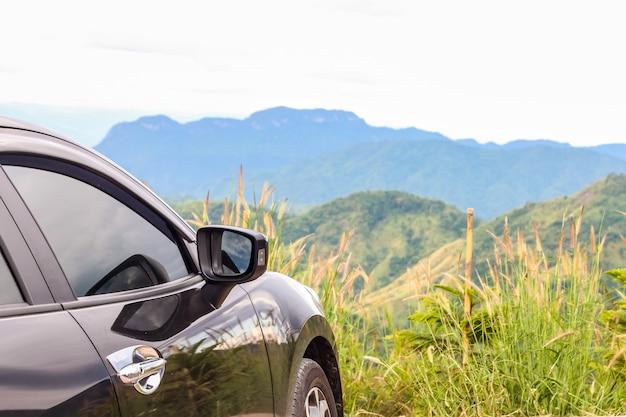 Closeup car over the mountain surface