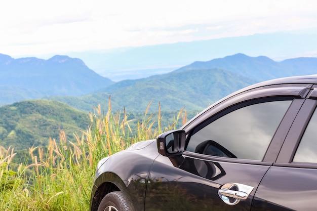 Closeup car over the mountain