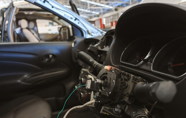 Closeup car steering wheel repair after the accident